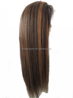 Most Popular Indian Remy Human Hair Wig Highlight Color 1b/30 Yaki Straight Full Lace Wig for Fashion Women