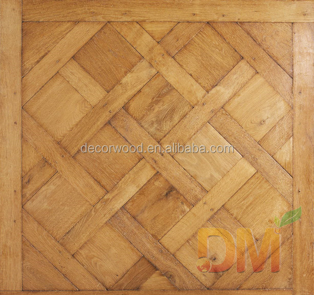 China manufacture solid wood versailles design oak parquet floor