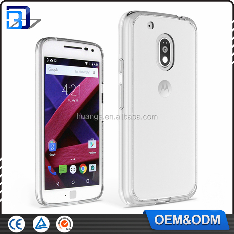 New Ultra thin Color Soft TPU Transparent Acrylic Combo Case Back Cover for Motorola Moto G4 Clear Case China Wholesale