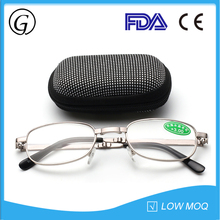 Fashion slim metal foldable reading glasses with case for mens