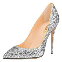 12cm high heel bridal shoes custom ladies pumps silver Glitter party wear shoe