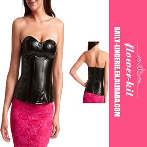 Black Leather Steel Boned Sexy Overbust Corsets