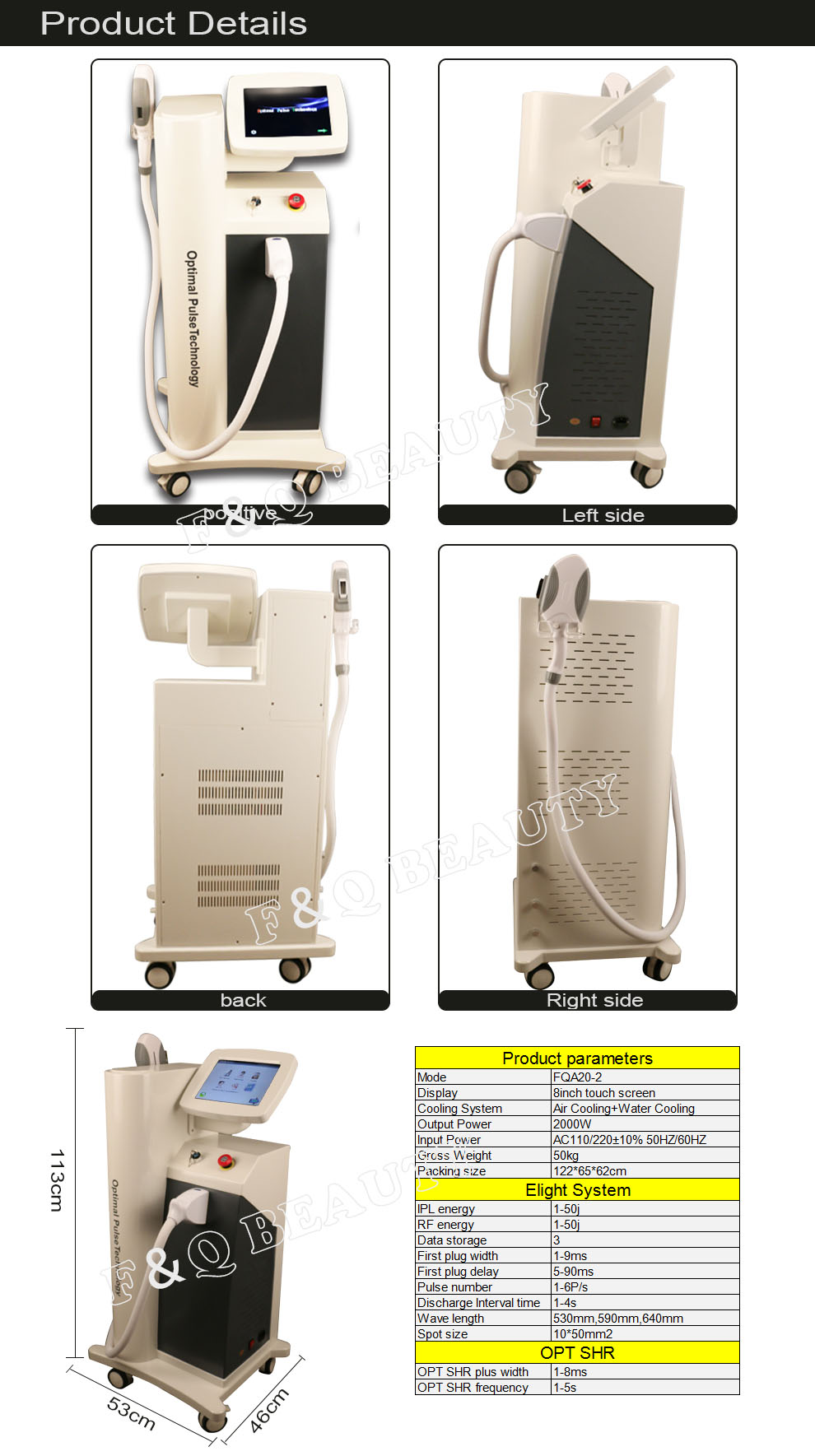 FQA20-2 OPT SHR hair removal machine