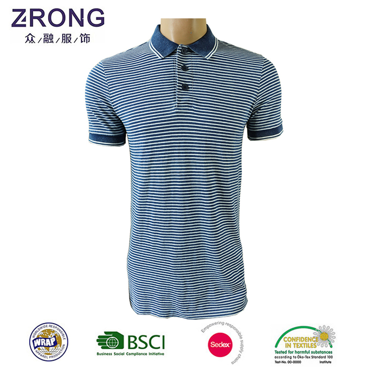 Hot Sell no collar Polo Shirts With yarn dyed Fabric Shirts Collar with garment stone wash
