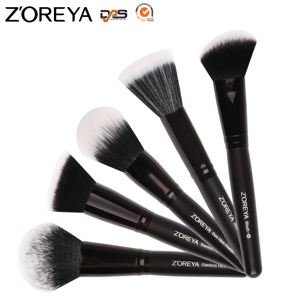 Zoreya New Custom Logo Black Wood Handle Nylon Makeup Brush Set