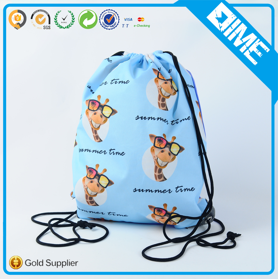 Promotional Drawstring Backpack Full Color Printing Polyester Drawstring Bag