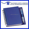 Hot selling logo printed cheap pp cover spiral notebook with pen for promotion