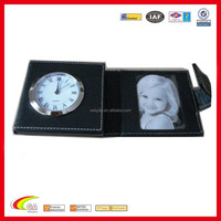 new black leather wallet travel photo frame with travel alarm clock
