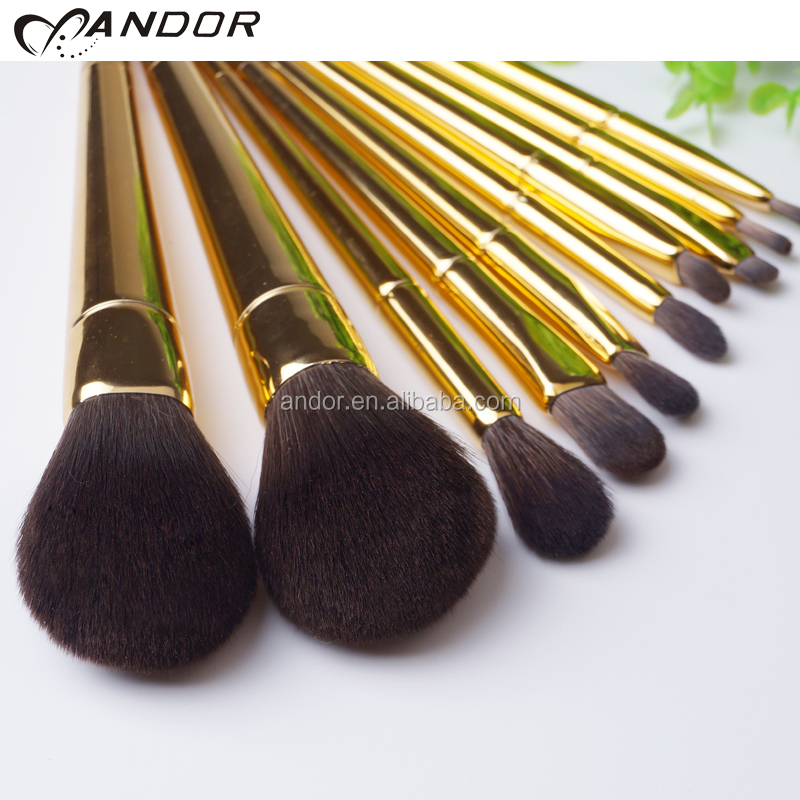 New arrival 10 pieces gold makeup brushes makeup sets cosmetic make-up brush