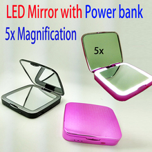 3000mah Power bank led lighted mirrors 5x magnify mirror