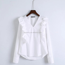 Summer Autumn Elegant Women V Neck Sweet Ruffles Design White Blouse Ladies Cute Long Sleeve Blouse OL Fashion Blouse For Office