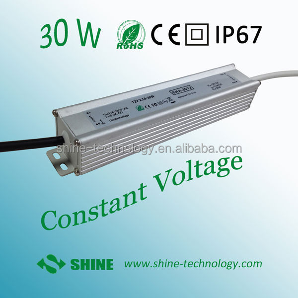High quality CE EMC LVD RoHS 30w 12v 2.5a ip 68 ac-dc led driver power supply, waterproof power adapter for led strips