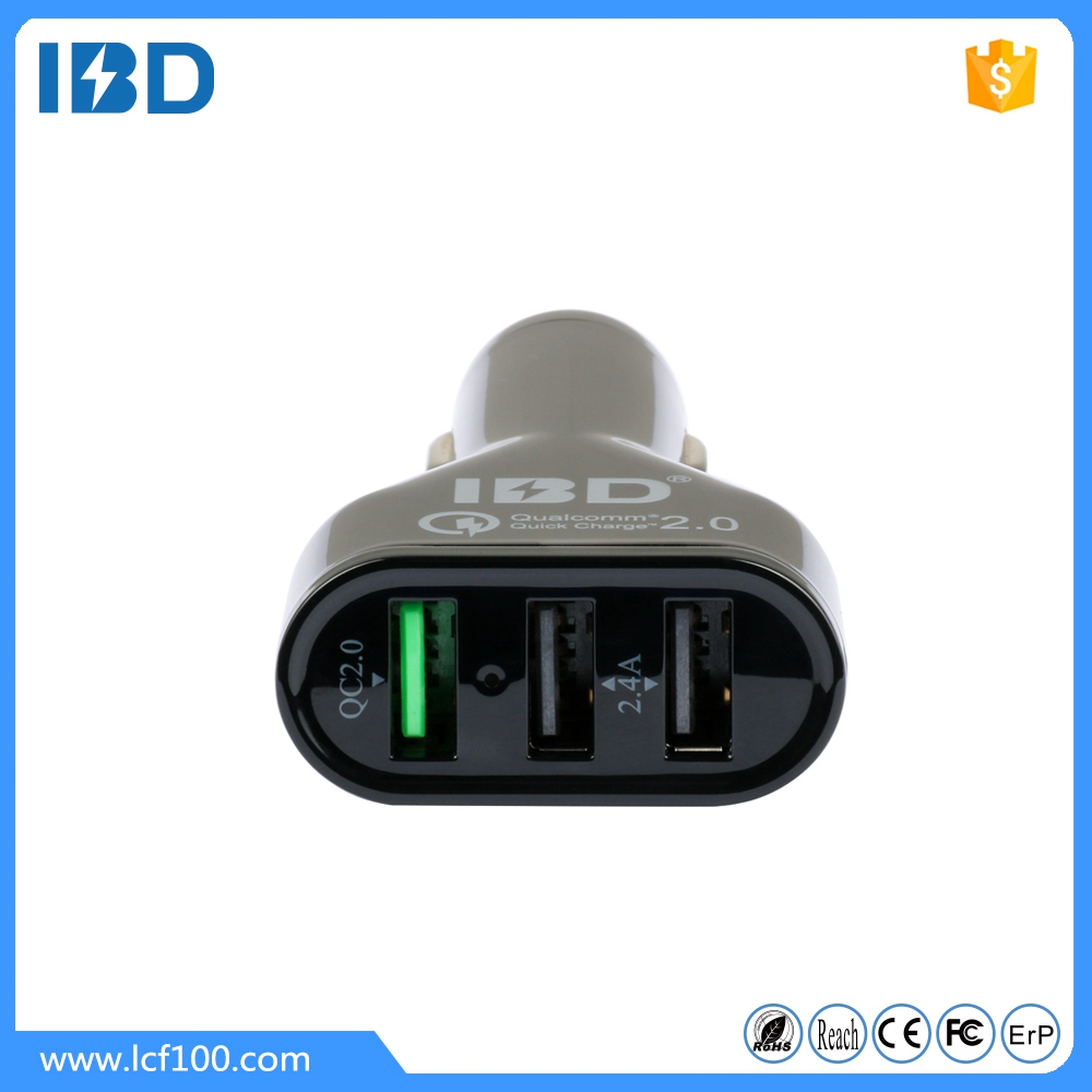 IBD 2016 mobile phone accessories alibaba wholesales 12v-24v quick charge 2.0 3 ports usb car charger for iphone 7 case