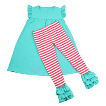 NEW style wholesale baby girls mustard pei clothing sets party decorations birthday girls boutique clothing set