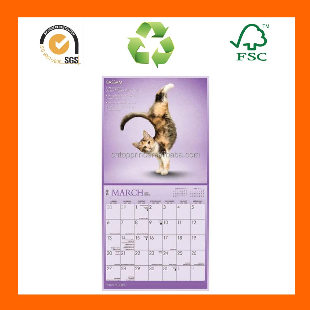 2016 Economical Arabe Insert Photo Promotional Calendar