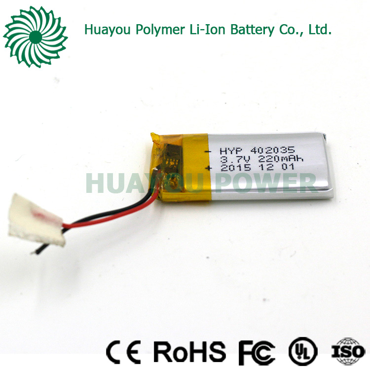 Rechargeable 3.7V 800mAh 402035 lithium ion polymer battery