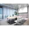 Modern office furniture black tempered oval end glass conference table