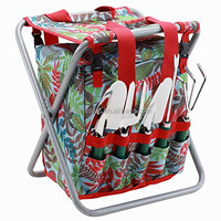 5-piece Garden Tool Set with Tote and Folding Seat garden stool and tool set