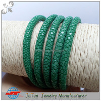 2016 High Class Special Green Genuine Polished Stingray Leather Galuchat Fashion Bracelet Material Shagreen Grade A Sting Skin