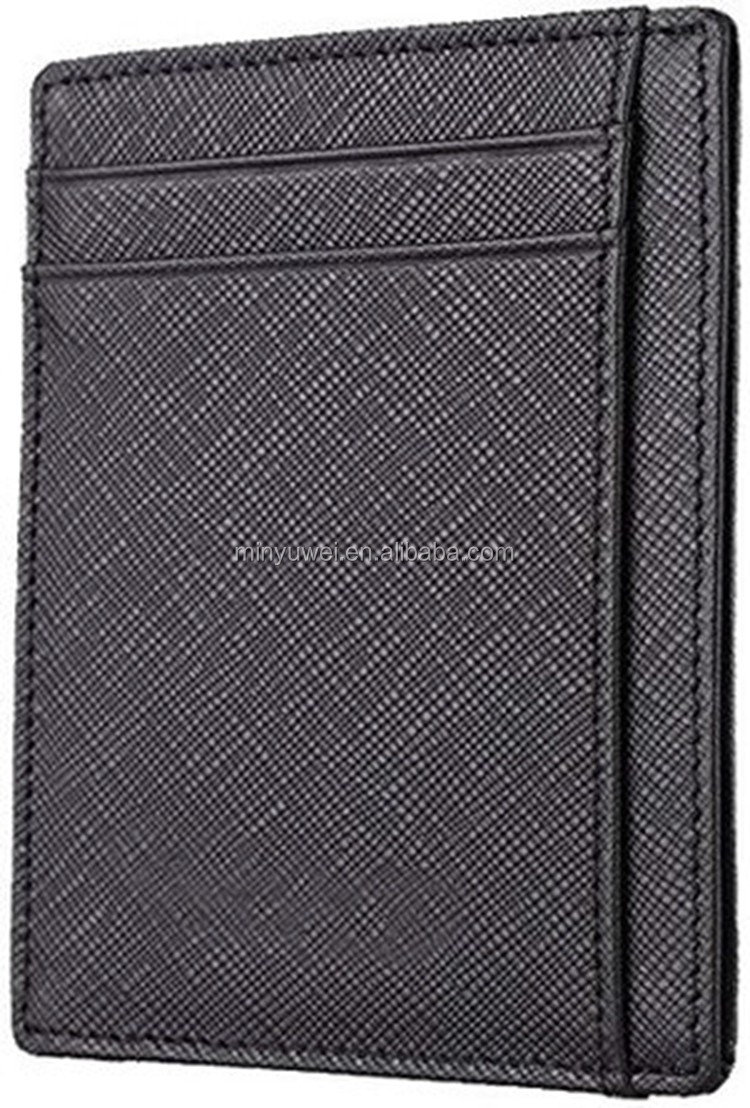 Saffiano Genuine leather Slim Business Card Holder Wallet with RFID blocking