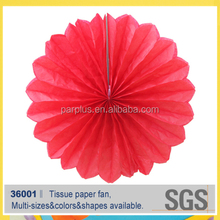 wedding stage hanging red pinwheel flower paper fan decoration