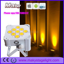 2018 New Pro 9pcs Battery Powered Uplight Led Wedding Wireless DMX RGBWAUV DJ Event Par Light With Phone Control