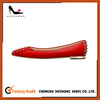 red genuine leather flat casual shoe, ladies flat causal shoes with rivets, hot sale flat casual shoe