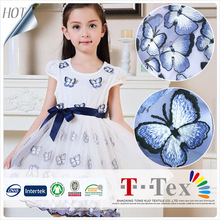TOP grade New design Swiss dubai export location beautiful butterfly sequined embroidery tulle fabric for girl child dresses