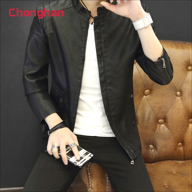 Chonghan Cheap Autumn Slim Type Black Colour Mens Leather Jacket Apparel Stock