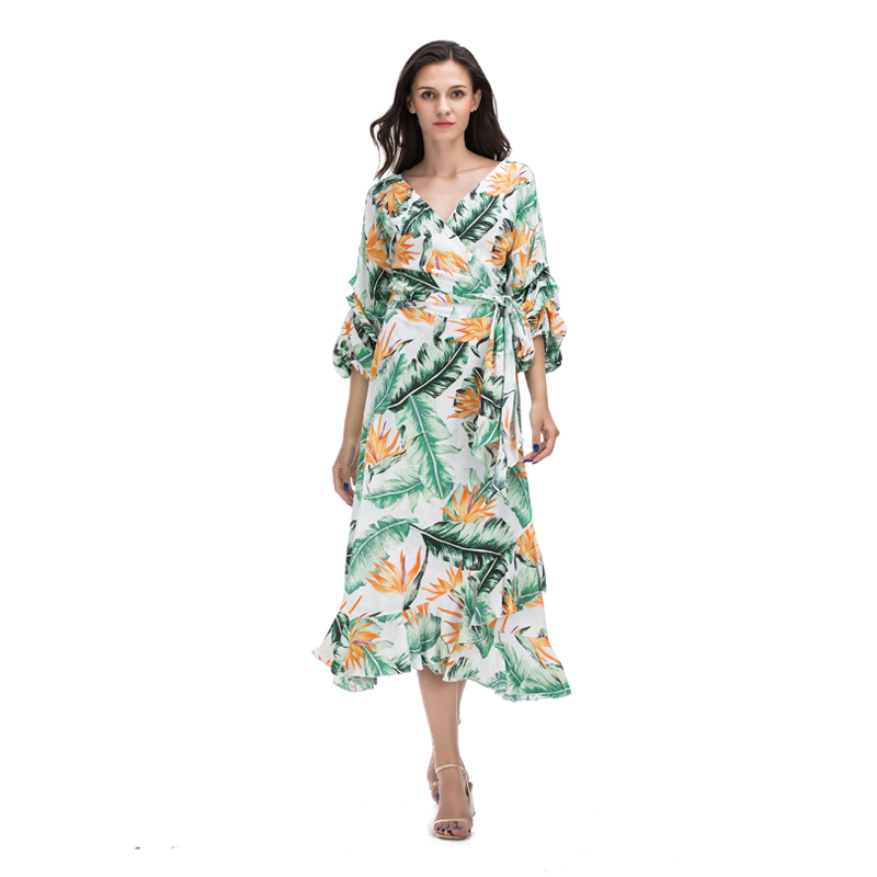 Spring New product floral print long puff sleeve tunic v neck wrap tie lady ruffle maxi woman <strong>dress</strong>