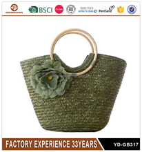 Custom Green Flower New Design Beach Straw Bag for Women
