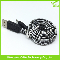 Yaika High Quality Cotton Fabric Braided Usb Cable data sync and charger cable for SAMSUNG HTC Android phones