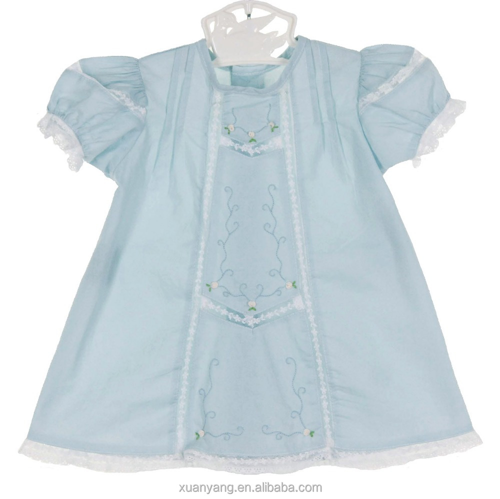 New model baby light blue flower lace trim clothes frock designs of cute baby girl dress