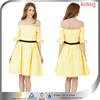 2016 Off-Shoulder Prom Dress Women Yellow Cocktail Dresses With Sleeve