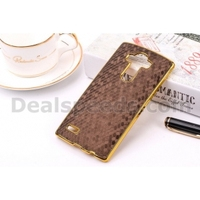 Leather Coated with football grain leather skin Plated PC Shell Cover for phone LG G4 - Coffee