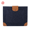 Fashion leather fabric 10 12 14 inch laptop sleeve pouch felt tablet cover case