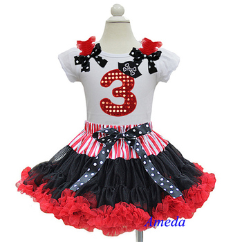 Pirate Black Red Pettiskirt with Bling Red 3rd Birthday White Short Sleeves Top 1-7Y