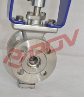 class 150lb on/off electric flanged ANSI ball valve v type ac220v