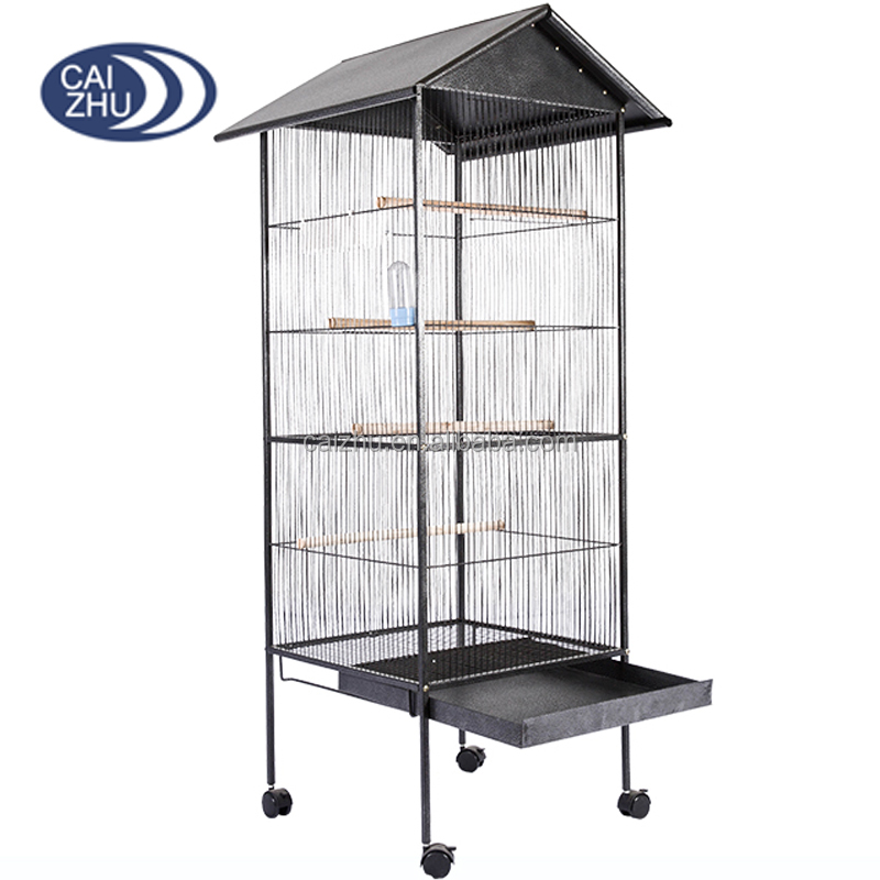 2016 Black color Top roof stainless steel cage bird house wire mesh for wholesale