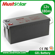 Factory Direct 12V 180Ah Gel Deep Cycle Battery for Solar Charger