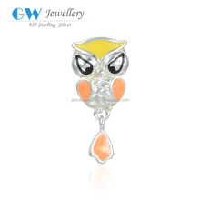 Colorful Enamel Owl 925 Silver Charms Custom Jewelry Wholesale Charms