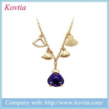 Most selling products india jewellery amethyst necklace 18k gold kolye accessories for women