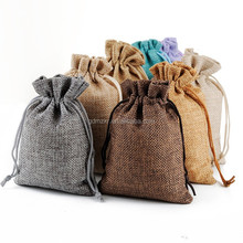 Eco-friendly Custom Logo printed linen pouch jute Burlap Drawstring Gift Bag With Handles
