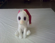 18cm promotional customized stuffed white plush christmas cat animal toy with red hat&big eyes for Christmas Day
