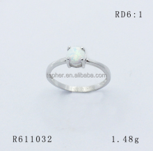 white color RD 6 CAB Shape opal stone silver ring, Round opal Cabochon stone ring,RD 6mm opal stone ring rhodium plated