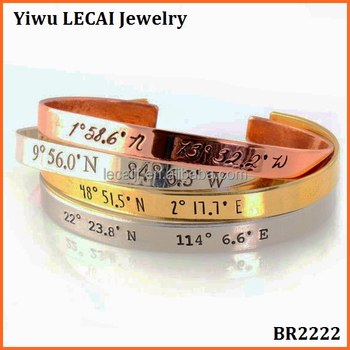 2016 Personalized Coordinates Bracelet Cuff Bracelet with Your Custom Latitude and Longitude in Silver, Gold and Rose gold