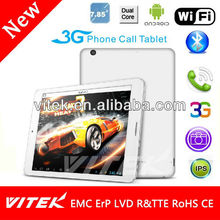 7.85'' Dual Core 5 Point Capacitive 3G Phone call tablet retina display