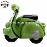 Retro Scooter ceramic handpaint money saving box