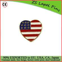 Free artwork design personalized quality Lapel Pin American Heart Flag