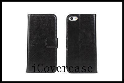 For iphone 5 5s crazy horse leather wallet stand flip case cover with 9 colors